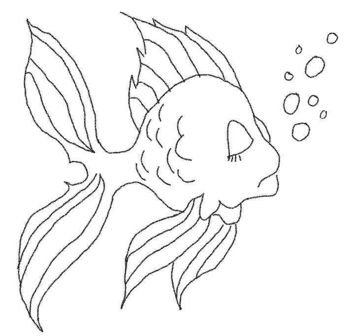 Раскраска Чудесная Золотая рыбка. Скачать золотая рыбка.  Распечатать золотая рыбка