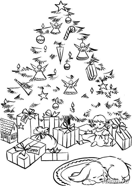 Раскраска После появления Деда Мороза в доме малыша. Пес спит под новогодней елкой под которой дед мороз разложил подарки.. Скачать Елка, Подарки.  Распечатать Новый год