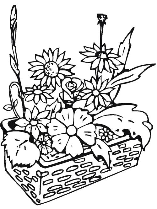 Раскраска  Маленькая клумба. Скачать Цветы.  Распечатать Цветы