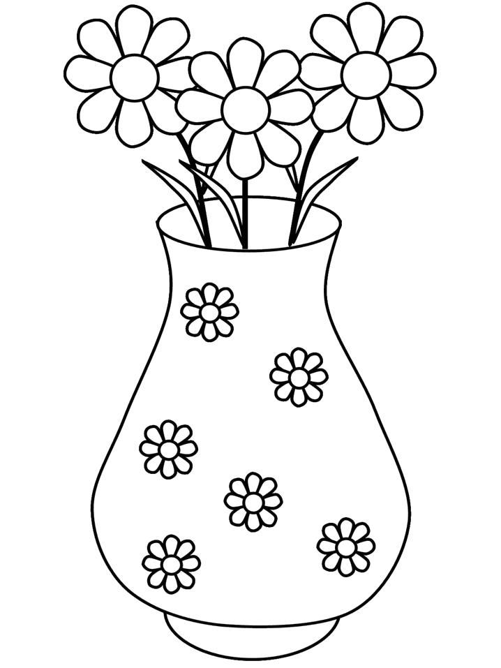 Раскраска Цветы в подарок. Скачать 8 марта.  Распечатать 8 марта