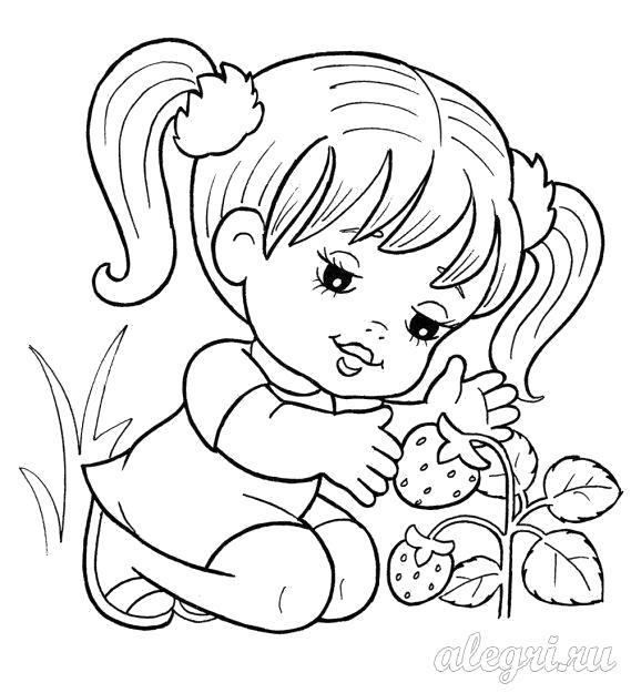 Раскраска  для детей дошкольного возраста. Девочка с ягодами. Скачать Девочка.  Распечатать Девочка