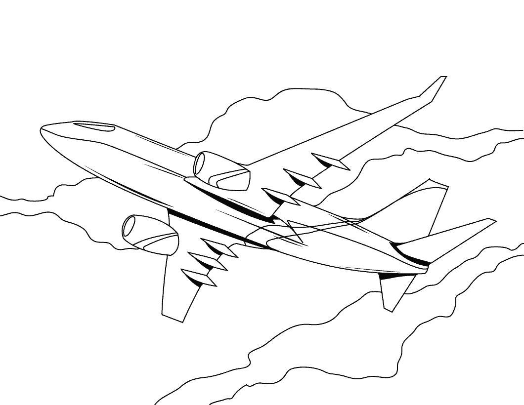 Раскраска Парящий самолёт. для мальчиков