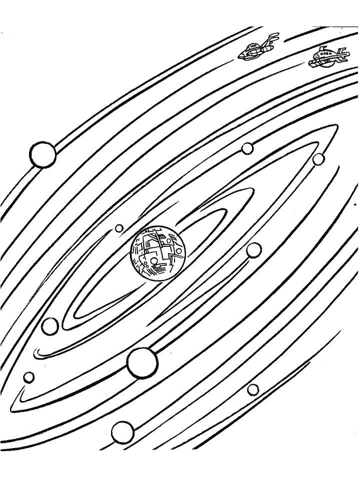 Раскраска солнечная система для детей распечатать
