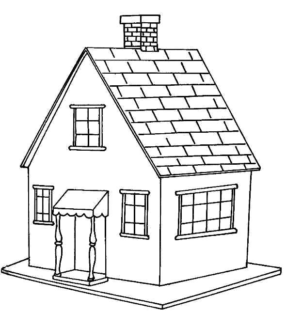 Раскраска дом с окнами, домик,  дом. Скачать Дом.  Распечатать Дом