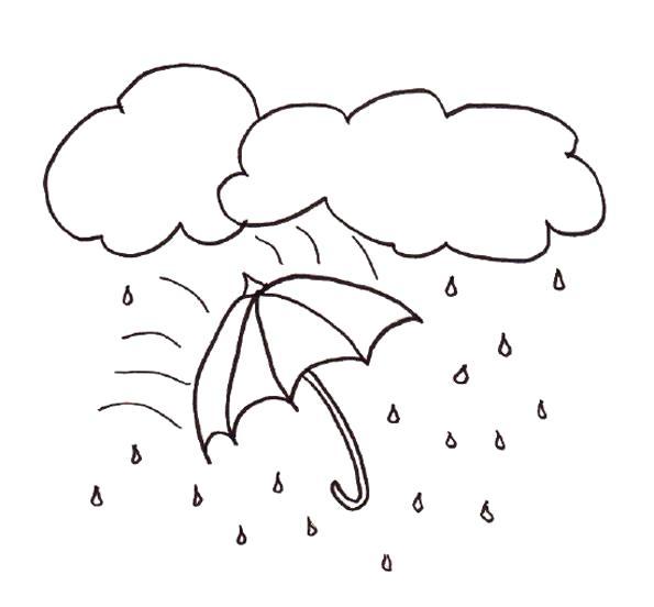Раскраска дождь и зонт. Осень