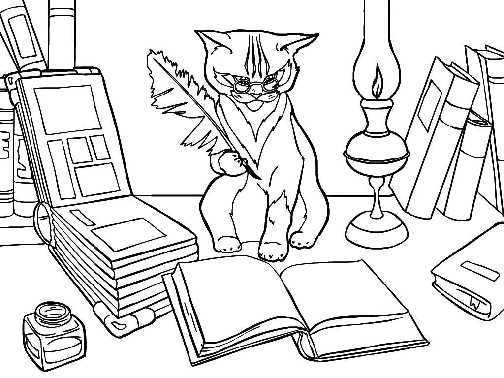 Раскраска Кот Учёный. Домашние животные