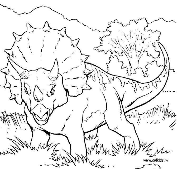 Раскраска Раскраска Динозавры, динозавр с рогами и шапкой. динозавр
