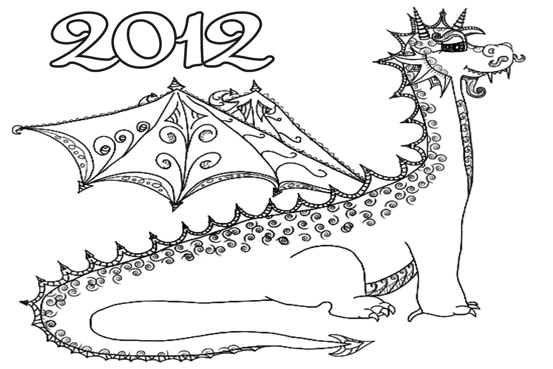 Раскраска раскраска дракон 2012. мифические существа