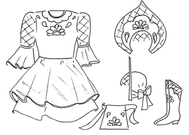 Русские народные костюмы рисунок простой долгих