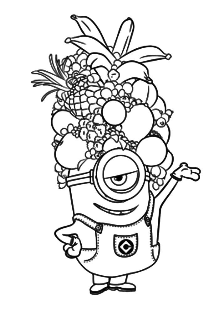 Раскраска  для детей Миньоны. Миньон с шапкой из фруктов. Скачать .  Распечатать Гадкий я