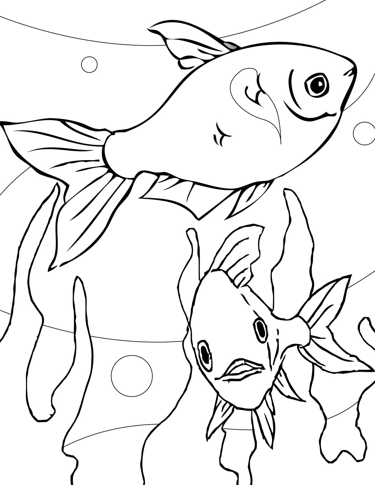 Название: Раскраска Золотые рыбки. Категория: рыба. Теги: рыба.
