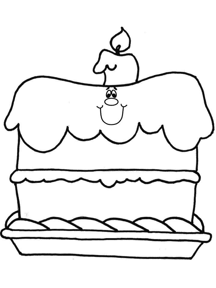 Раскраска С Днем Рожденья, праздничный торт, торт, торт со свечой. Скачать с днём рождения.  Распечатать с днём рождения