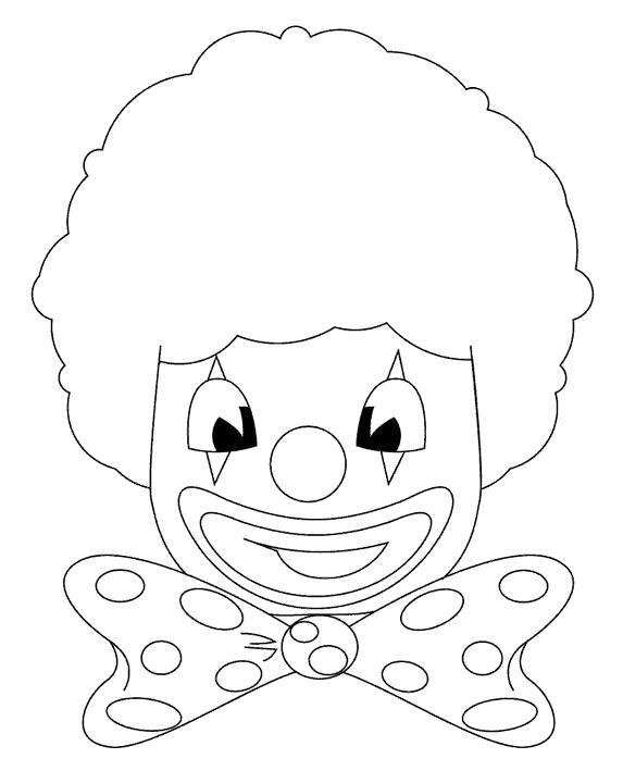 Раскраска лицо клоуна . Скачать клоун.  Распечатать клоун