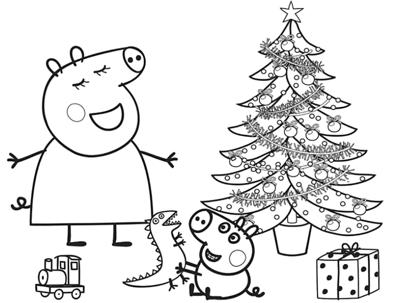 Раскраска новый год. Скачать Джорж, Мама свинка.  Распечатать Свинка Пеппа