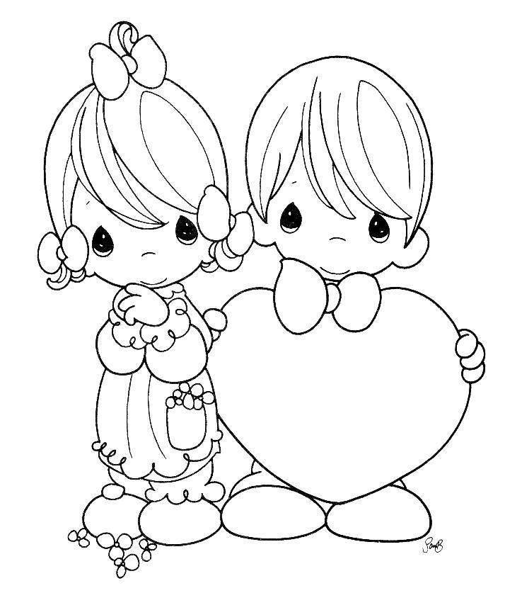Раскраска Раскраски день святого валентина дети, валентинка, сердце . сердце