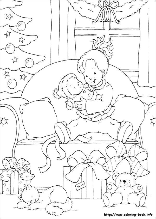 Раскраска Рождественские . мальчик открывает подарки. Скачать Рождество.  Распечатать Рождество