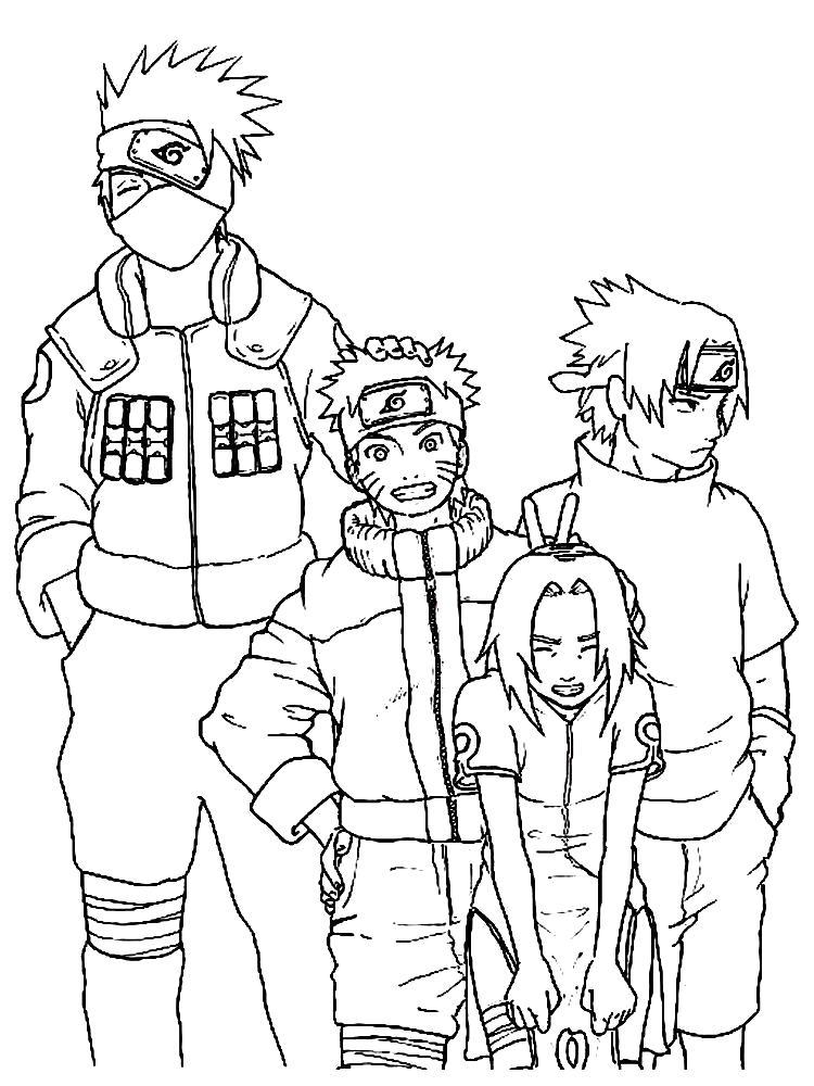Раскраска Какаши, Наруто, Сакура и Саске. Скачать наруто.  Распечатать наруто