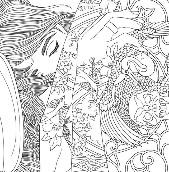 Раскраски девушка, Раскраска Спящая девушка антистресс.