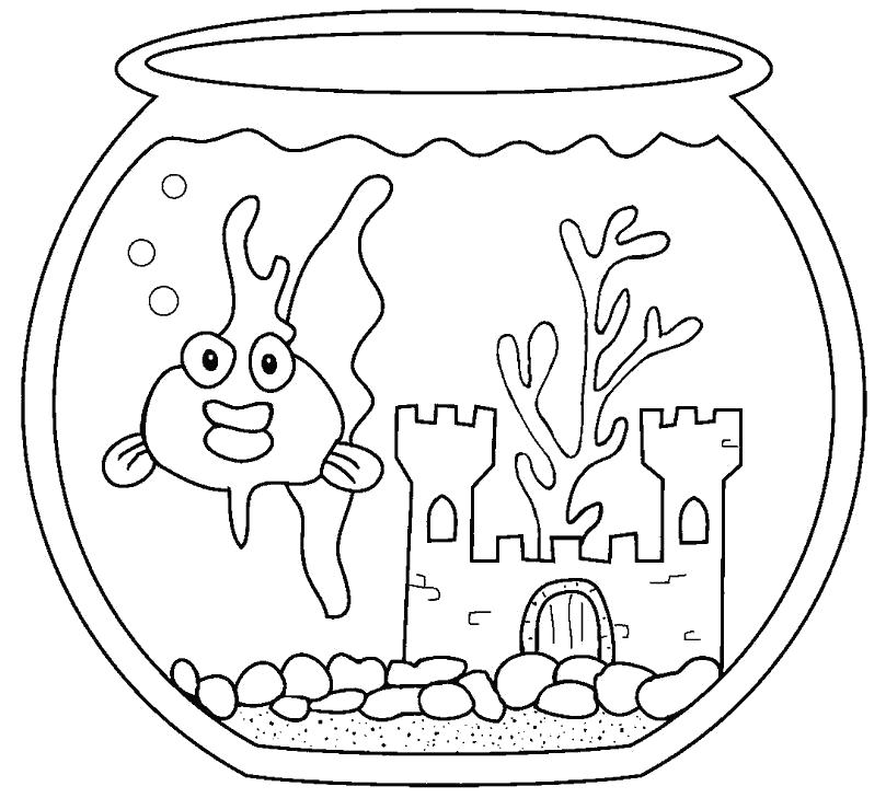 Раскраска Золотая рыбка в аквариуме. Скачать золотая рыбка.  Распечатать золотая рыбка