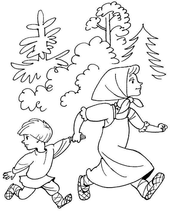 Раскраска   к сказке гуси лебеди сестра и брат бегут в лесу гуси лебеди сказка. Скачать гуси лебеди.  Распечатать сказки