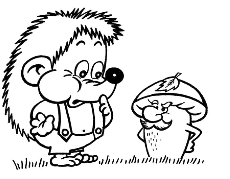 Раскраска раскраска ежик и гриб. Ежик