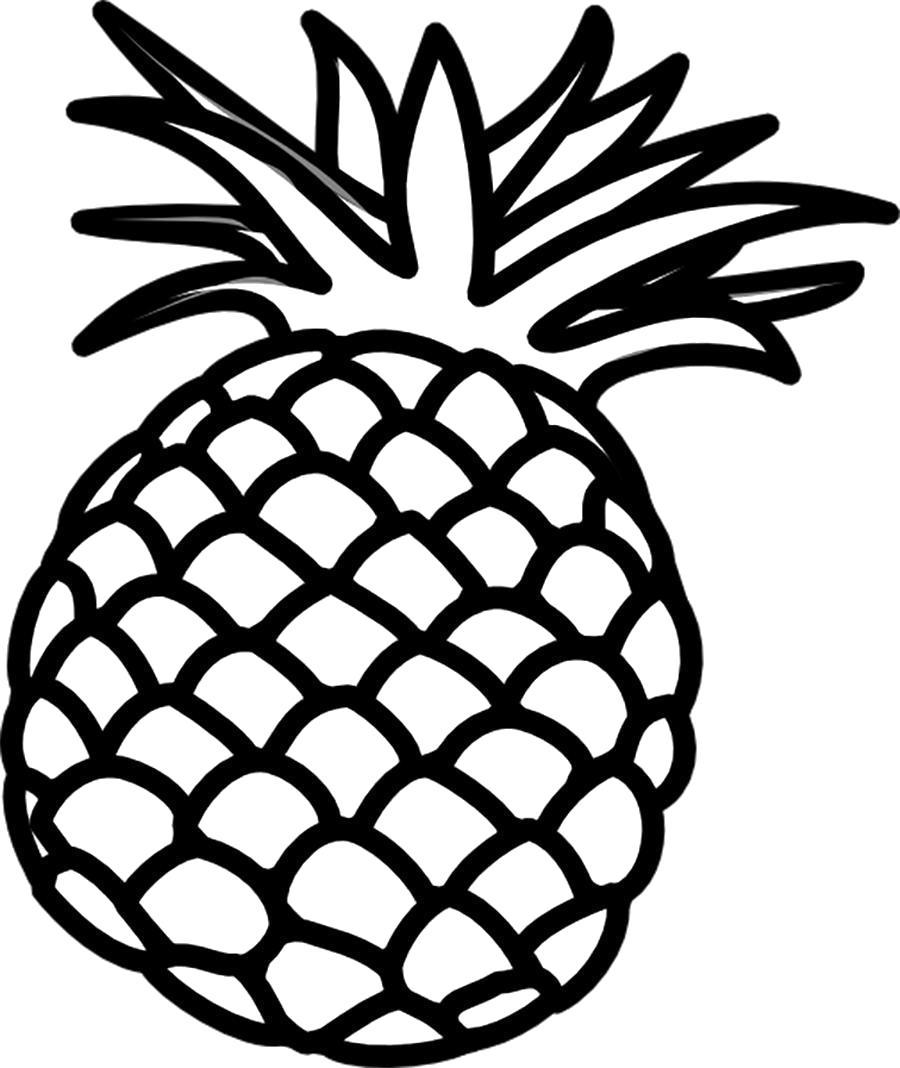 Раскраска Раскраски овощи ананас контур, фрукты контур для вырезания из бумаги. Фрукты