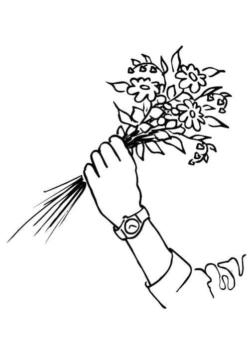 Раскраска  Букет лесных цветов в руке. Скачать Цветы.  Распечатать Цветы