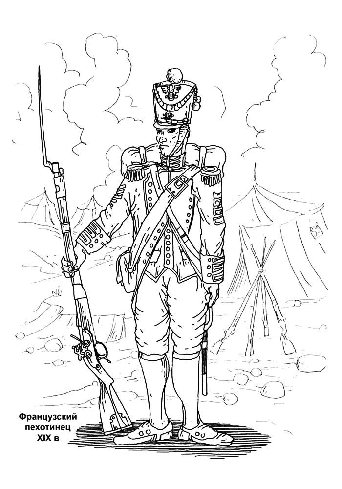 Раскраска  французский пехотинец. Скачать Солдат.  Распечатать Солдат