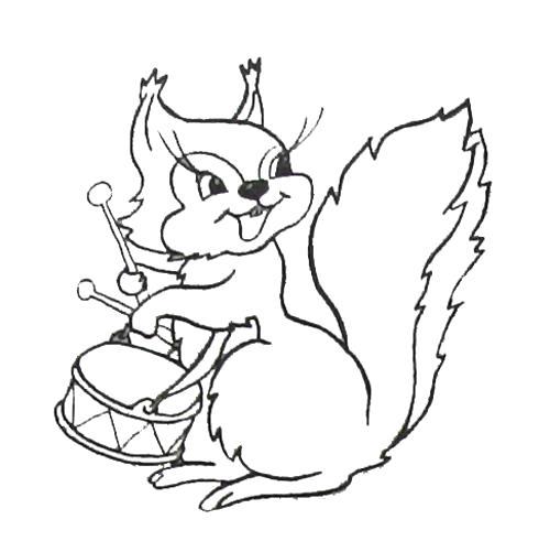 Раскраска Белка с барабаном. животных