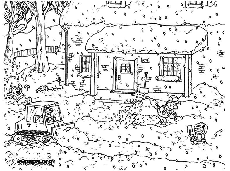 Раскраска Уборка снега Раскраски Раскраски зима. Времена года