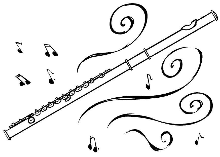 Раскраска  флейта. Скачать Флейта.  Распечатать Флейта
