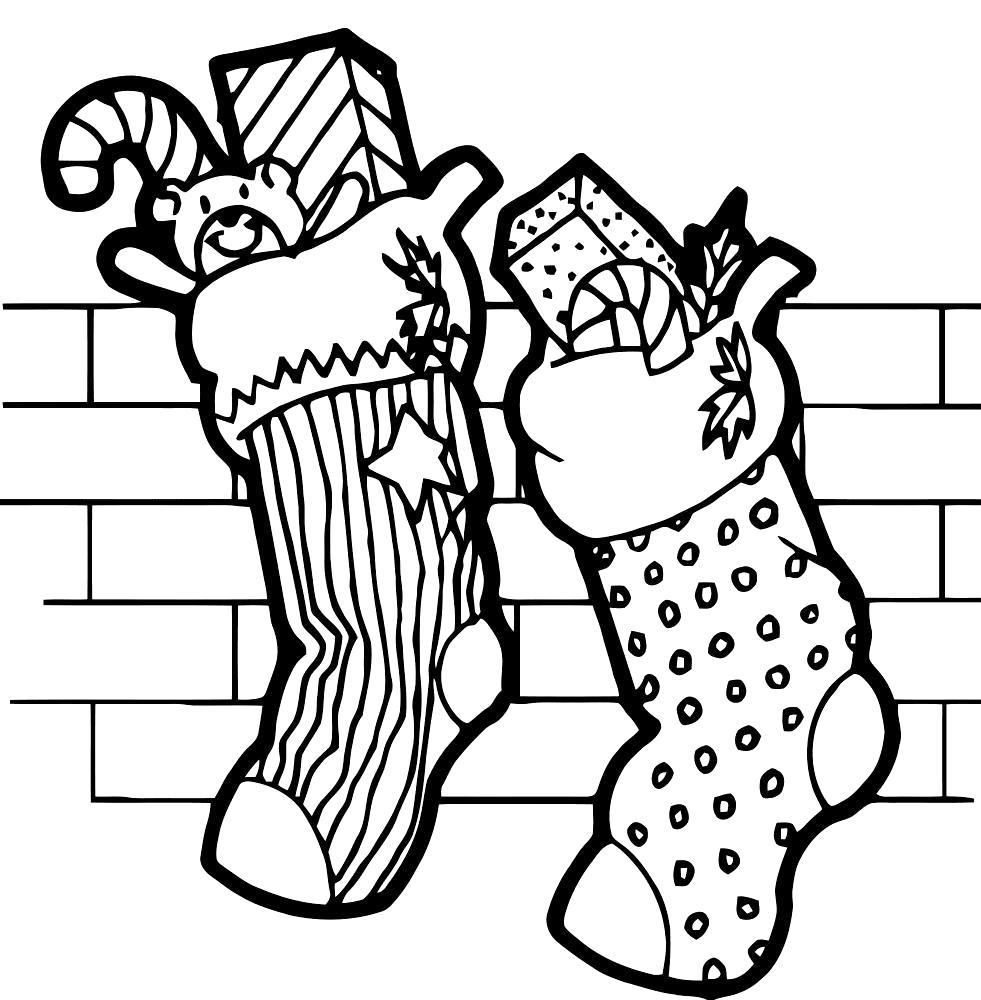 Раскраска рождественские носки. Рождество