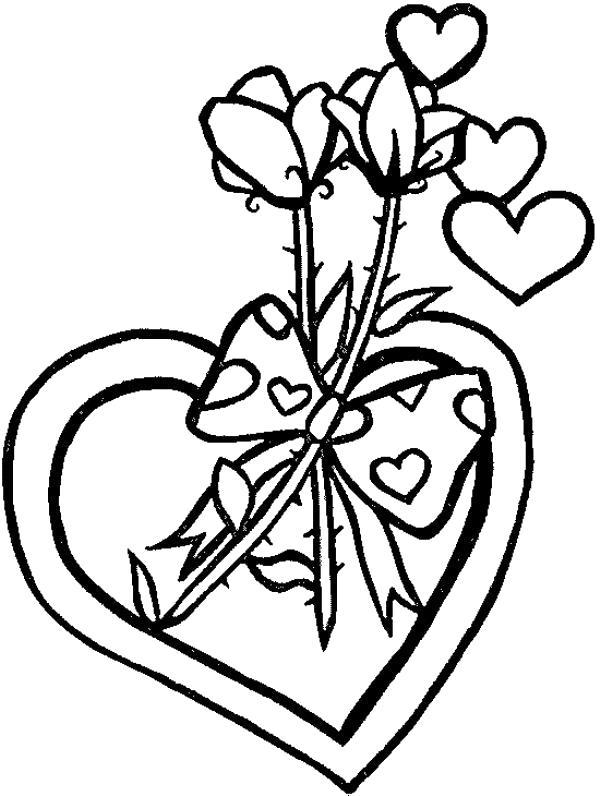 Раскраска  розы сердце, розы, валентинка. Скачать 14 февраля, сердце, любовь.  Распечатать День святого валентина