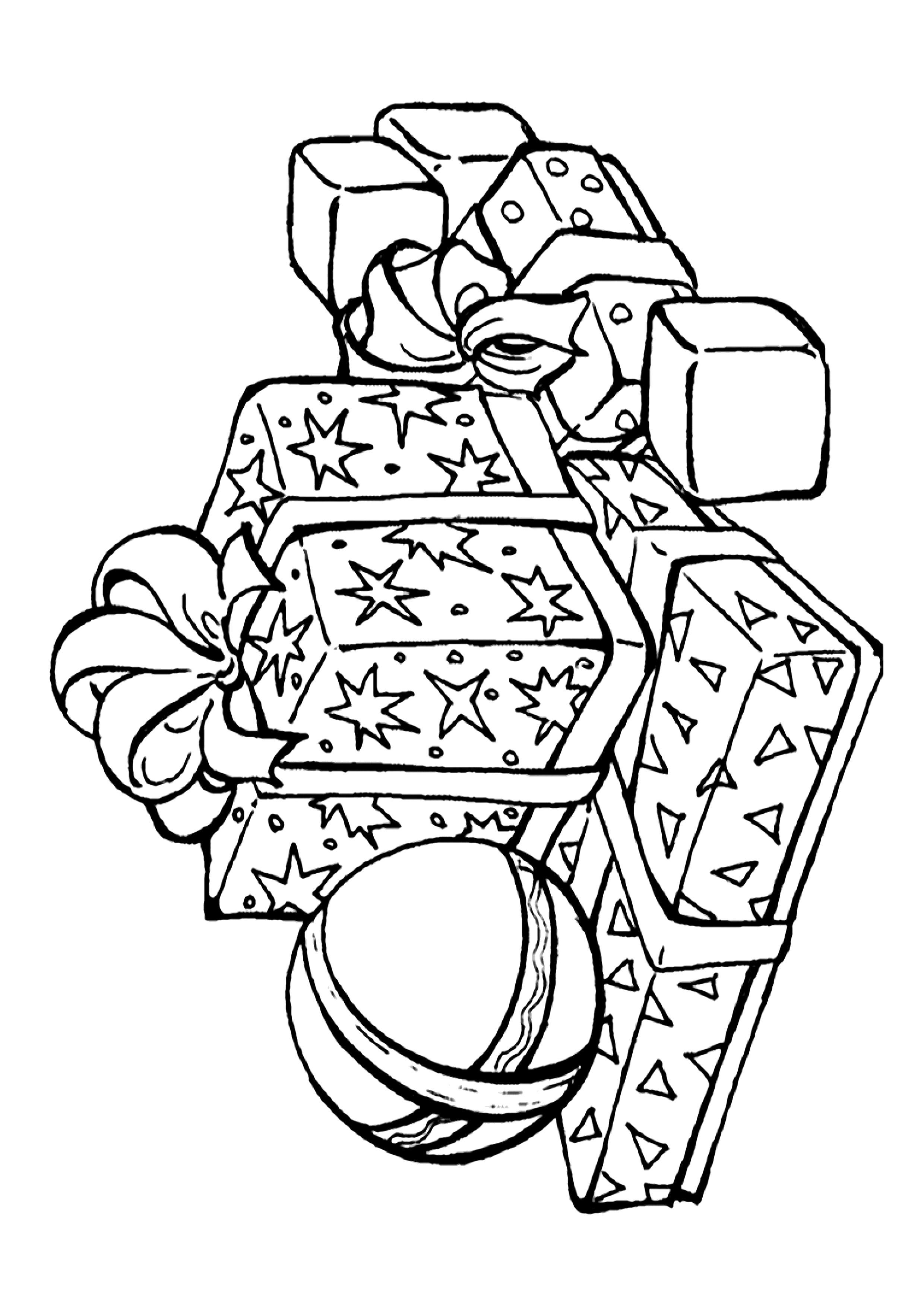 Раскраска  подарки, подарки и мячик, подарок обернутый бантиком. Скачать Подарки.  Распечатать Подарки
