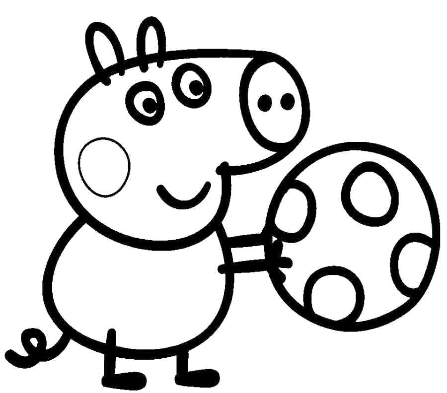 Раскраска Распечатать раскраску Джорж с мячем. Скачать Джорж.  Распечатать Свинка Пеппа