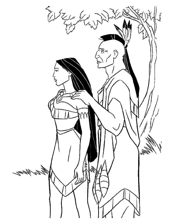 Раскраска Смелая Покахонтас.
