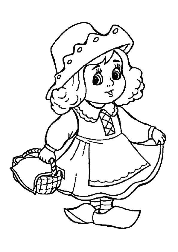 Раскраска сказка красная шапочка, маша несет бабушке пирожки. Скачать красная шапочка.  Распечатать красная шапочка