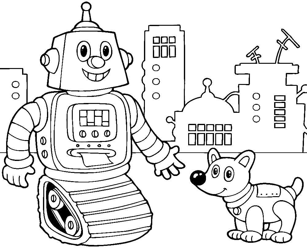 Раскраска Роботы  для малышей. Скачать Робот.  Распечатать Робот