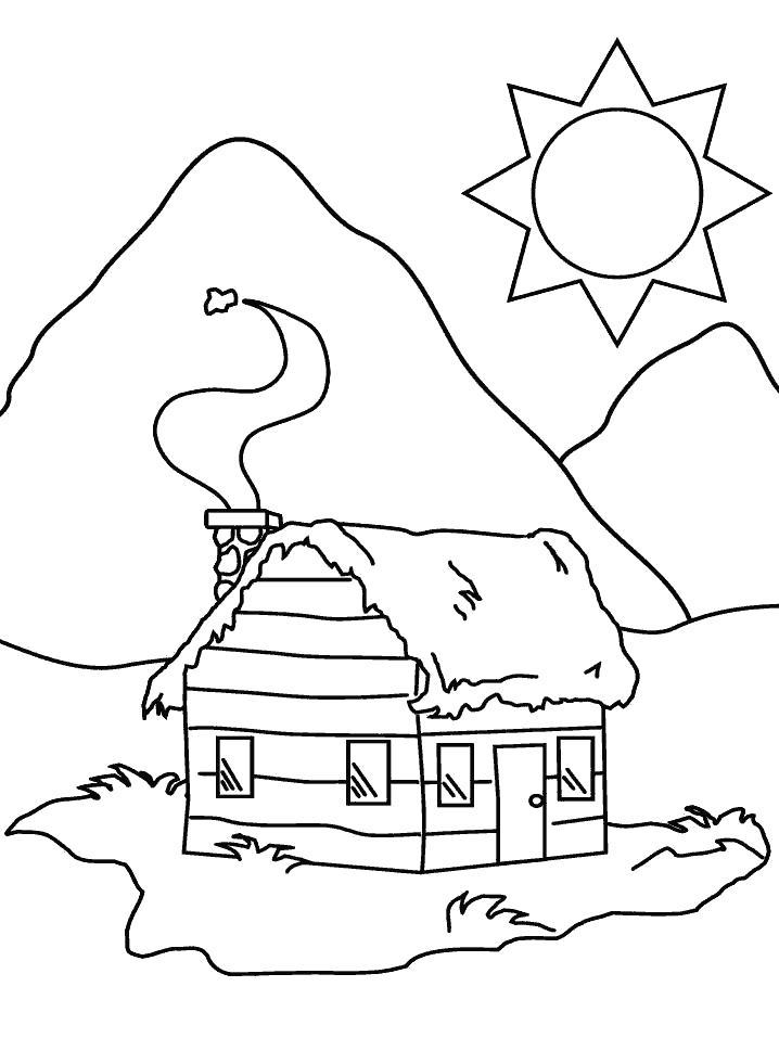 Раскраска домик за горой, солнце, день. Скачать Дом.  Распечатать Дом