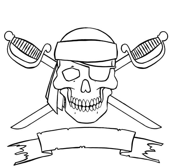 Раскраска Пиратское знамя. Скачать Череп.  Распечатать Череп