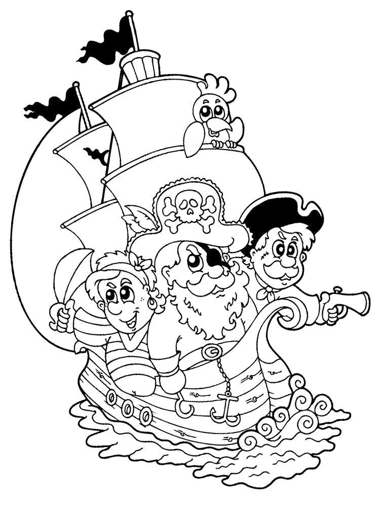 Раскраска пиратский корабль. пираты на корабле. Пират