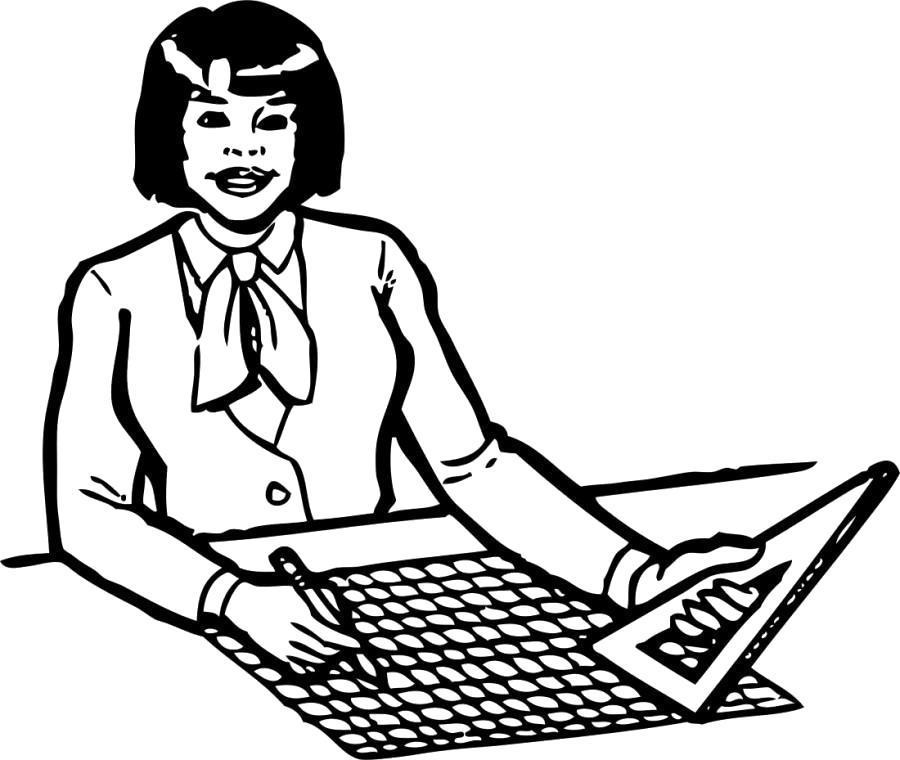 Раскраска Женщина инженер с линейкой чертит на бумаге.