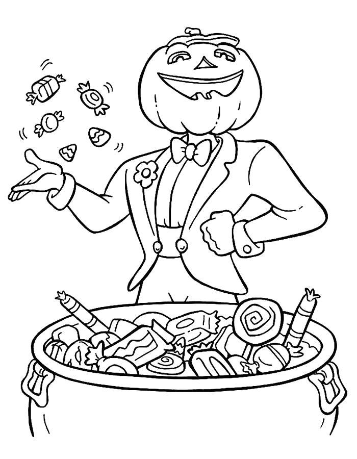 Раскраска Тыква и сладости. Хэллоуин