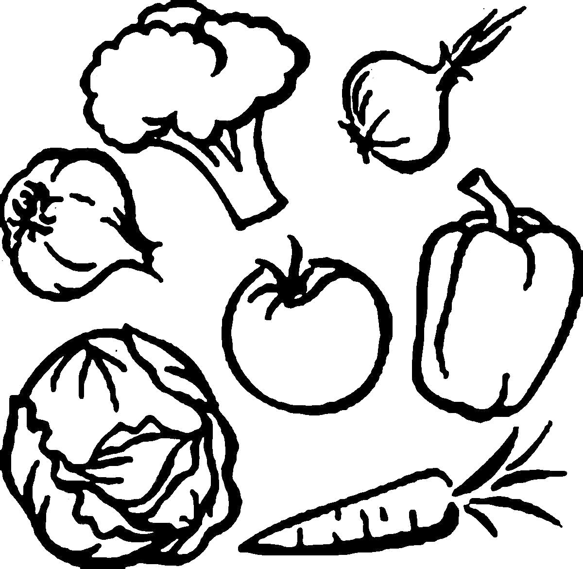 Раскраска Раскраски овощи . овощи
