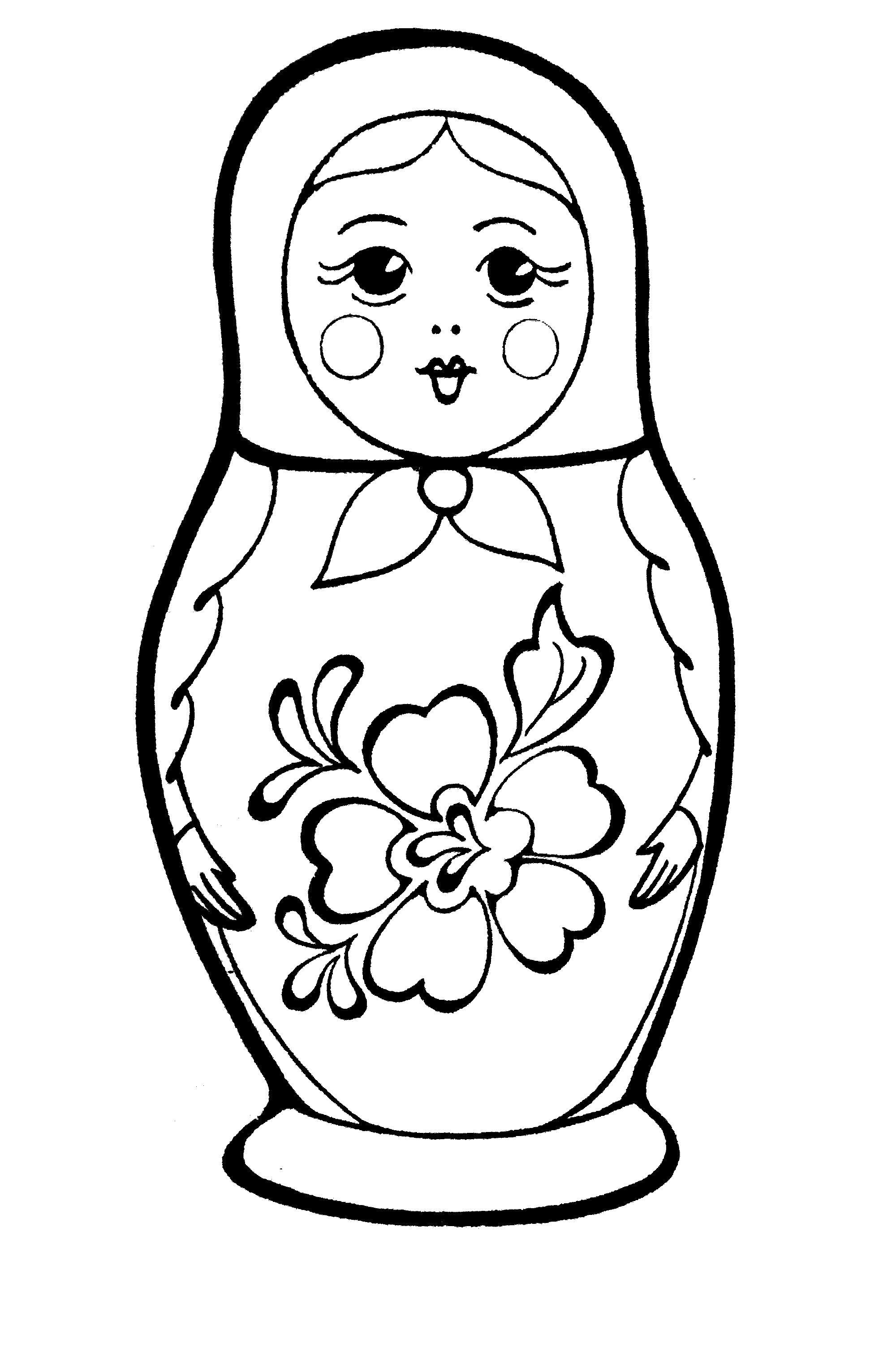 Раскраска матрешка рисунок, матрешка, матрешка с цветком. Скачать Матрешка.  Распечатать Матрешка