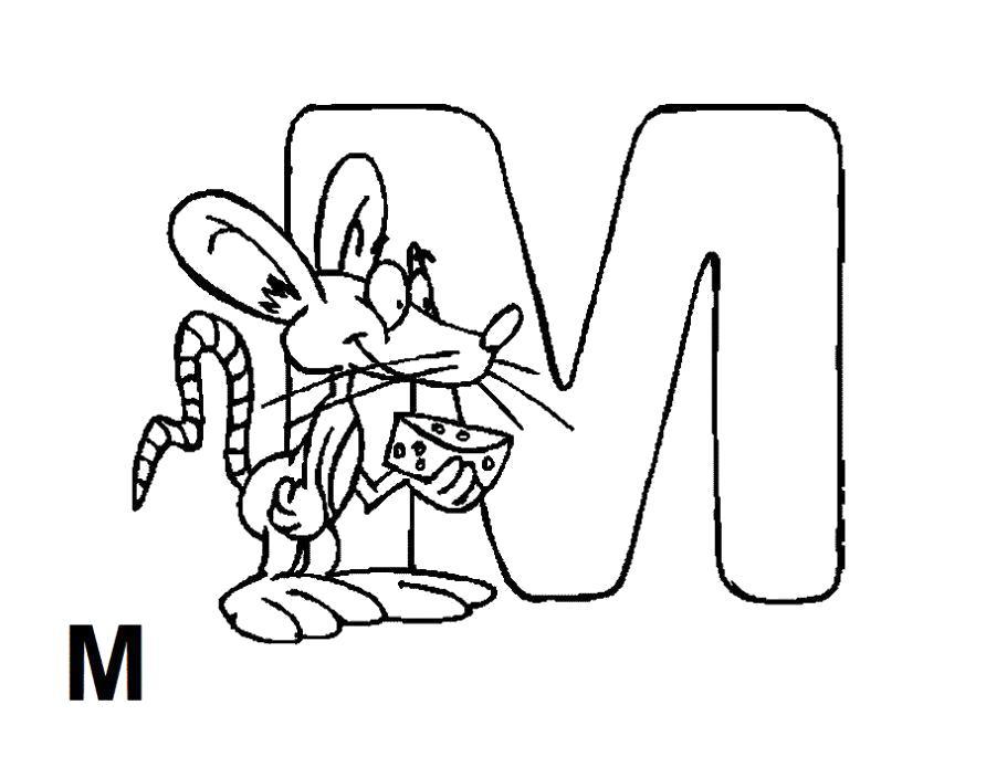 Раскраска  буква m. буква