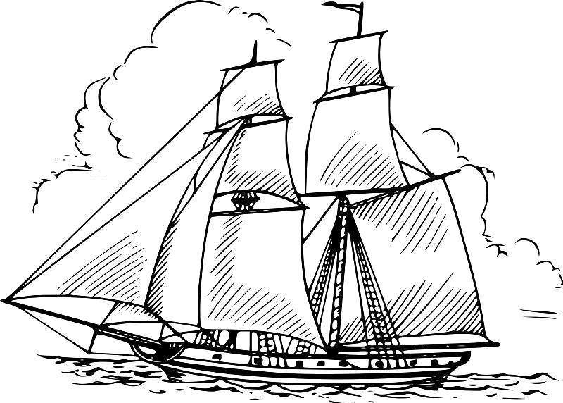 """Раскраска  """"корабль с парусами"""" скачать и распечатать бесплатно. Скачать корабль.  Распечатать для мальчиков"""