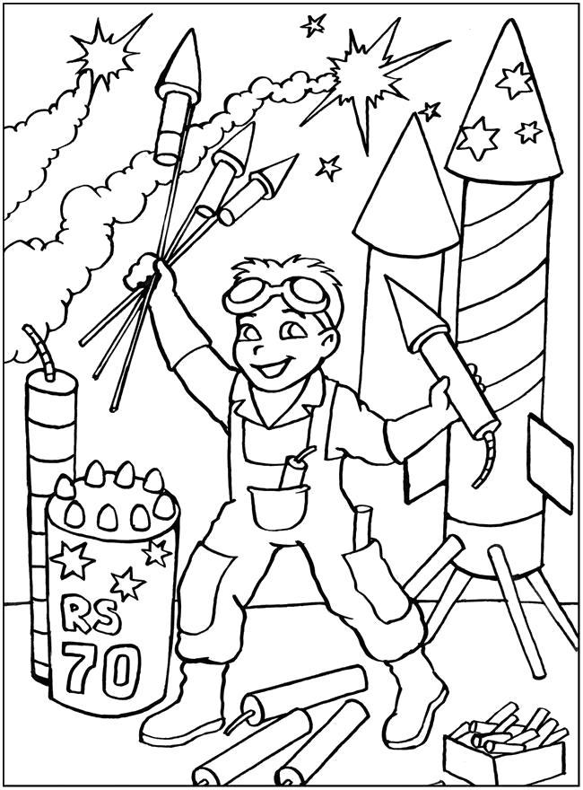 Раскраска раскраска пиротехник, мальчик и петарды.