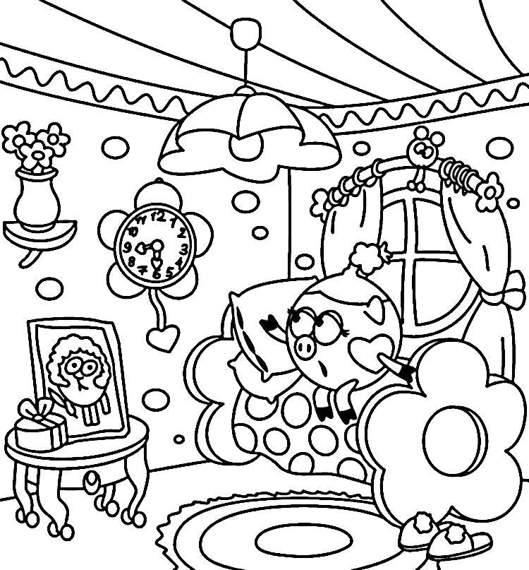 Раскраска Детские разукрашки смешарики Нюша в своей комнате. Скачать Нюша.  Распечатать Смешарики