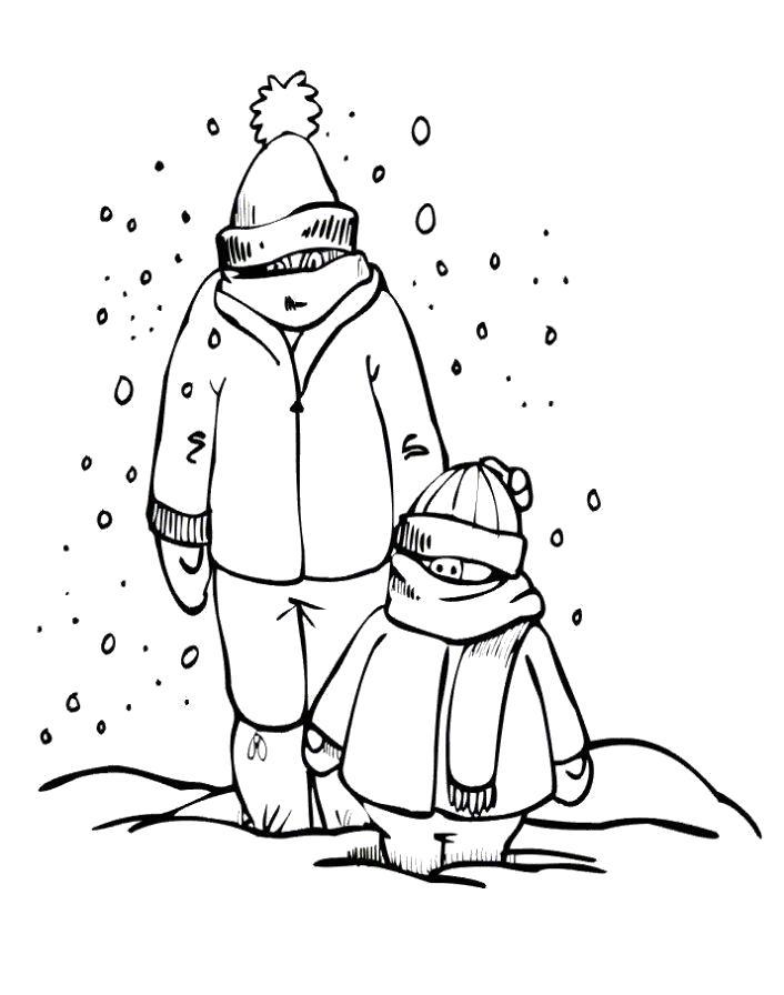 Картинки раскраски дети в снегу